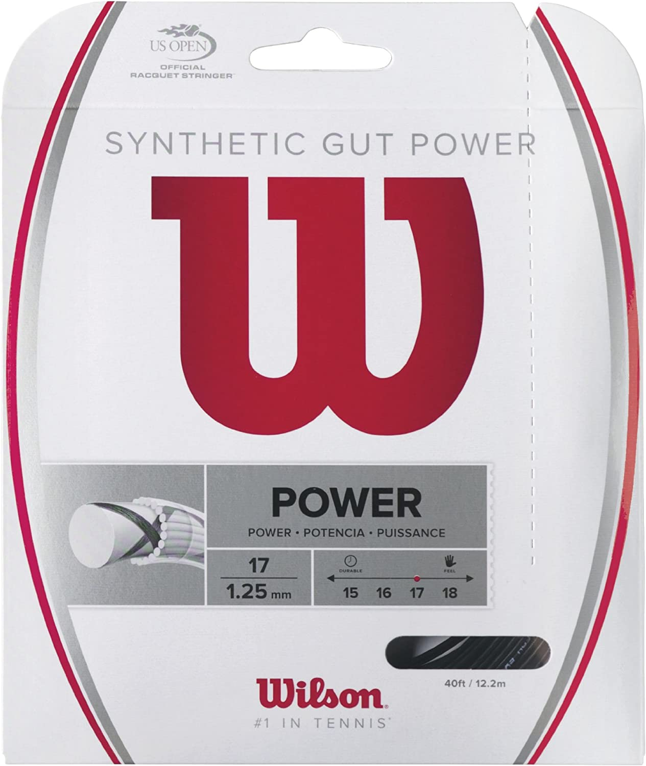 1.25 mm Wilson Unisexs Synthetic Gut Power String Set-Black