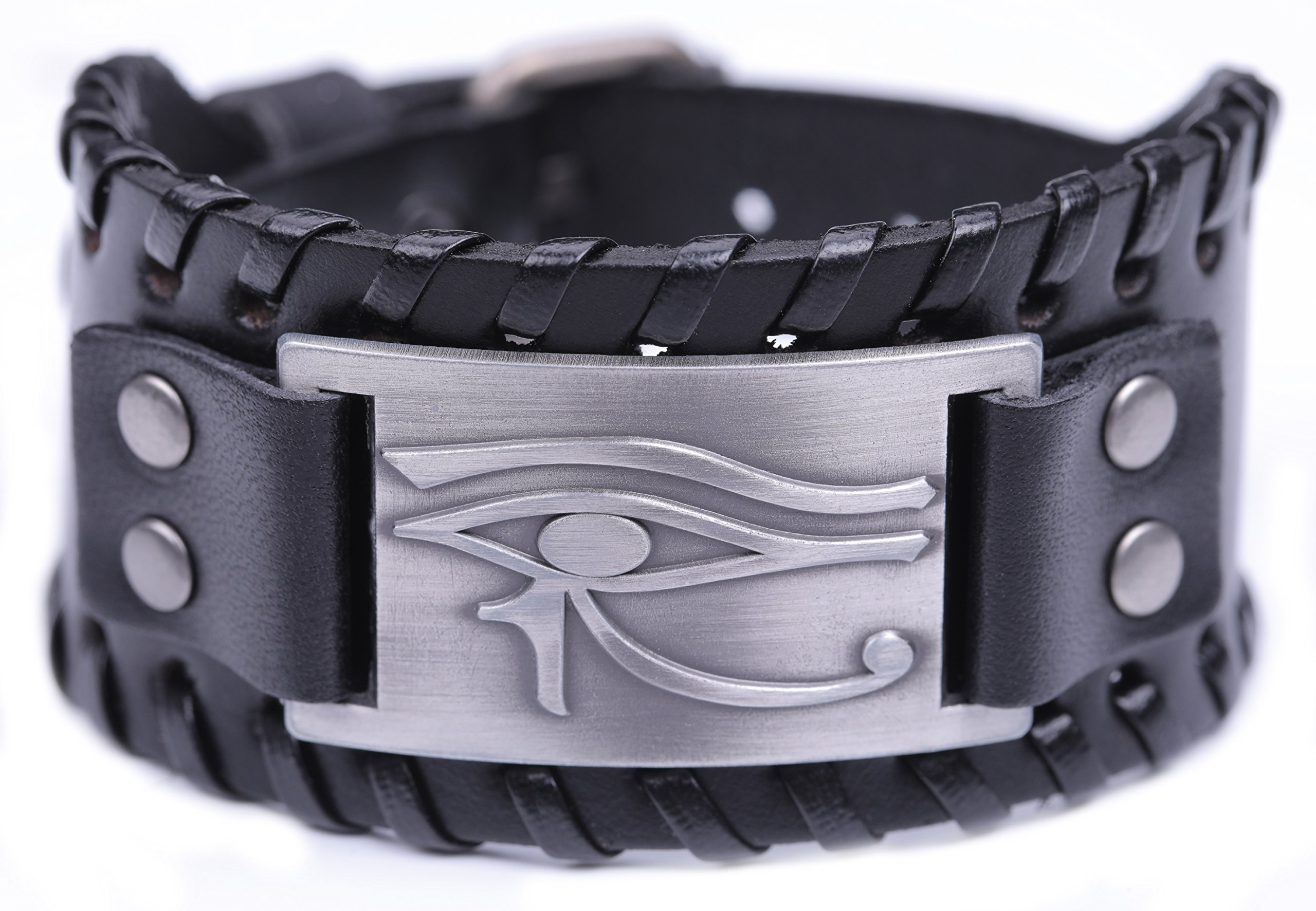 VASSAGO Ancient Egyptian Pagan Evil Eye of Horus Talisman New Style Adjustable Metal Leather Bracelet for men women (Black Leather, Antique Silver)