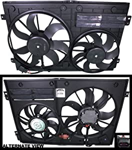 APDTY 731916 Dual Radiator & AC Condenser Cooling Fan Motor Blade Plastic Shroud Complete Assembly Fits Select 2005-2015 VW or Audi Models; View Description or Compatibility Chart)