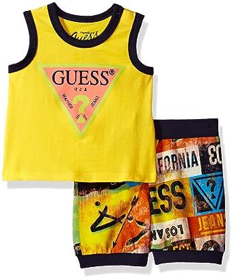 47eedae48340 Amazon.com: GUESS Baby Boys' Set-Tank T-Shirt + Printed Shorts: Clothing