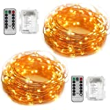 YIHONG 2 Set Fairy Lights Battery Operated Fairy String Lights Waterproof 8 Modes 50 LED String Lights 16.4FT Copper Wire Firefly Lights Remote Control (Warm White)