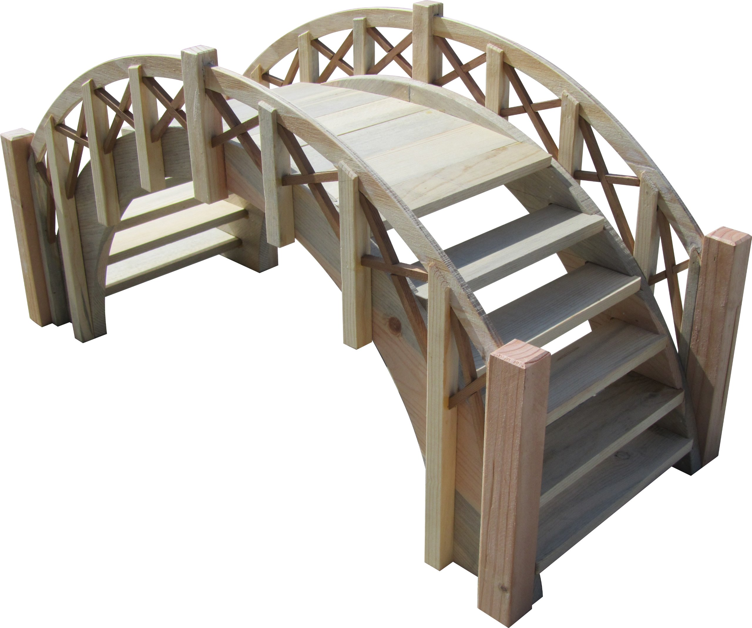 SamsGazebos Fairy Tale Garden Bridge with Decorative Lattice Railings and Steps, 33'' L, Unfinished