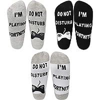 Oumers Do Not Disturb, I'm Playing Fortnite Funny Ankle Socks (3pcs), Chaussettes en Coton Chaussettes Gamer-Cadeau Parfait d'anniversaire de Noël pour des Amoureux de Jeu