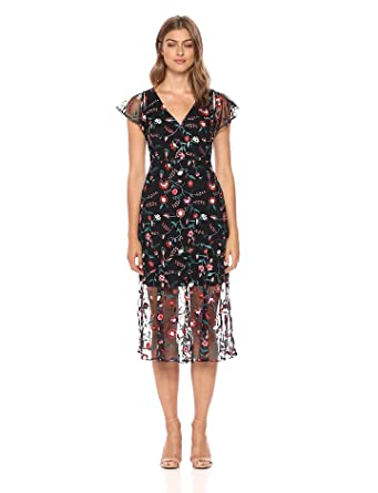 c5cc21a4b4d1 Sam Edelman Women's Floral Embroidered mesh Midi Dress, red Pansy, ...