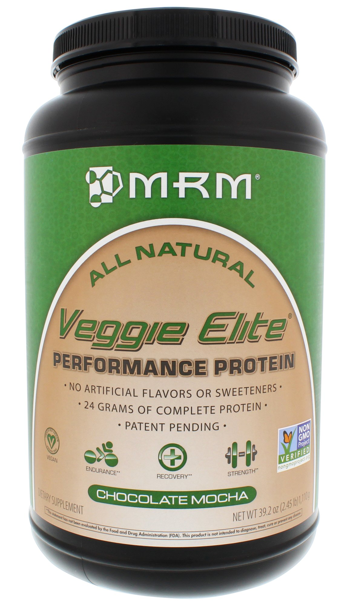 MRM - Veggie Elite Performance Protein, 24 Grams of Plant-Based Protein, Soy-Free, Vegetarian & Vegan Friendly, Non-GMO Project Verified (Chocolate Mocha, 2.45 lbs)