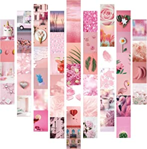 50pcs Pink Aesthetic Wall Collage Kit- Aesthetic Pictures Kit Collage Photo Display Kit for Teen Girls Bedroom Dorm Wall Decor