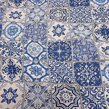 Stoff Baumwollstoff Meterware Blau Weiß Delfter Kacheln Fliesen Neu - Blaue fliesen küche