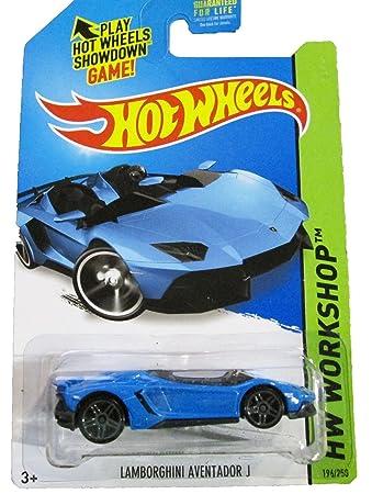2014 hot wheels hw workshop lamborghini aventador j light blue ships in a box