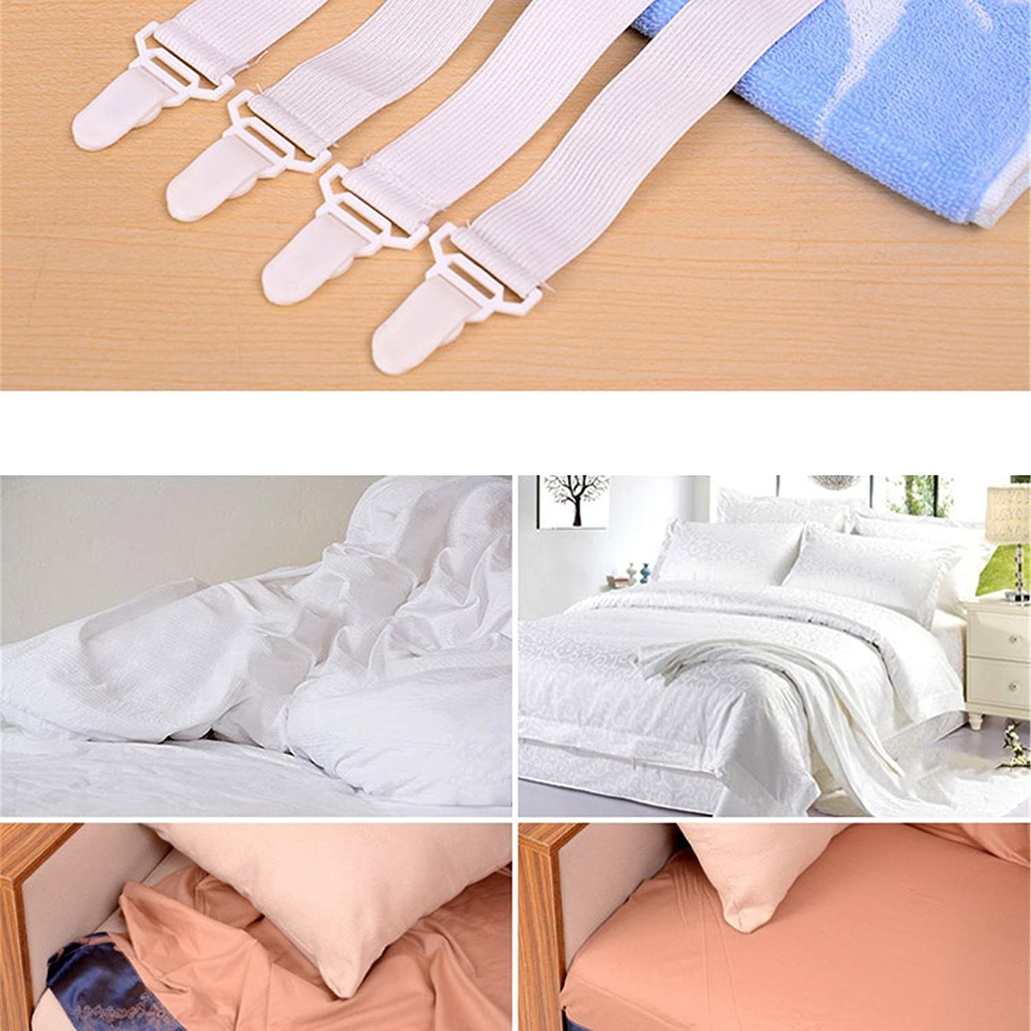 4pcs//SET White Skid Elastic Band Retaining Clip For Fixed Bedspreads Sheets