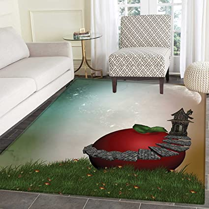 Fantasy Area Rug Carpet Fictional House In A Magical Garden With A Big Red  Apple Fresh