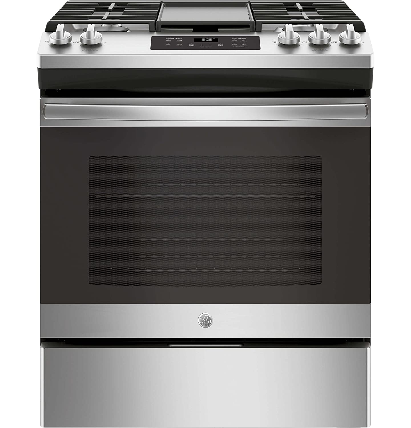 GE JGSS66SELSS 30 Inch Slide-in Gas Range with Sealed Burner Cooktop, 5.6 cu. ft. Primary Oven Capacity, in Stainless Steel G.E.