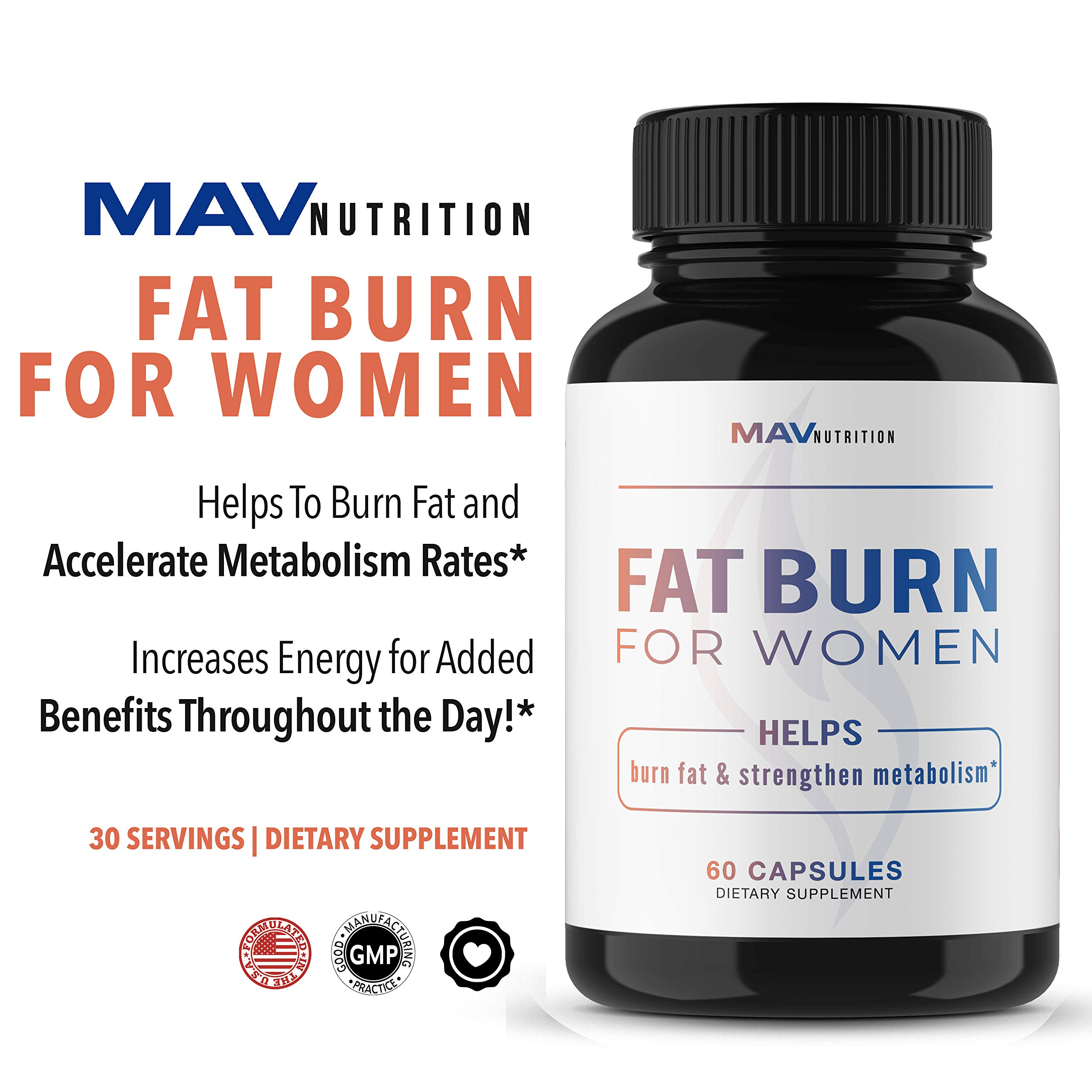 Womens Fat Burner Weight Loss Pills Designed for Increasing Healthy Metabolism, Supporting Energy Levels, Fat Loss, and Increasing Tone; Non-GMO, Gelatin-Free; 60 Vegetarian Capsules for Women by MAV Nutriton (Image #5)