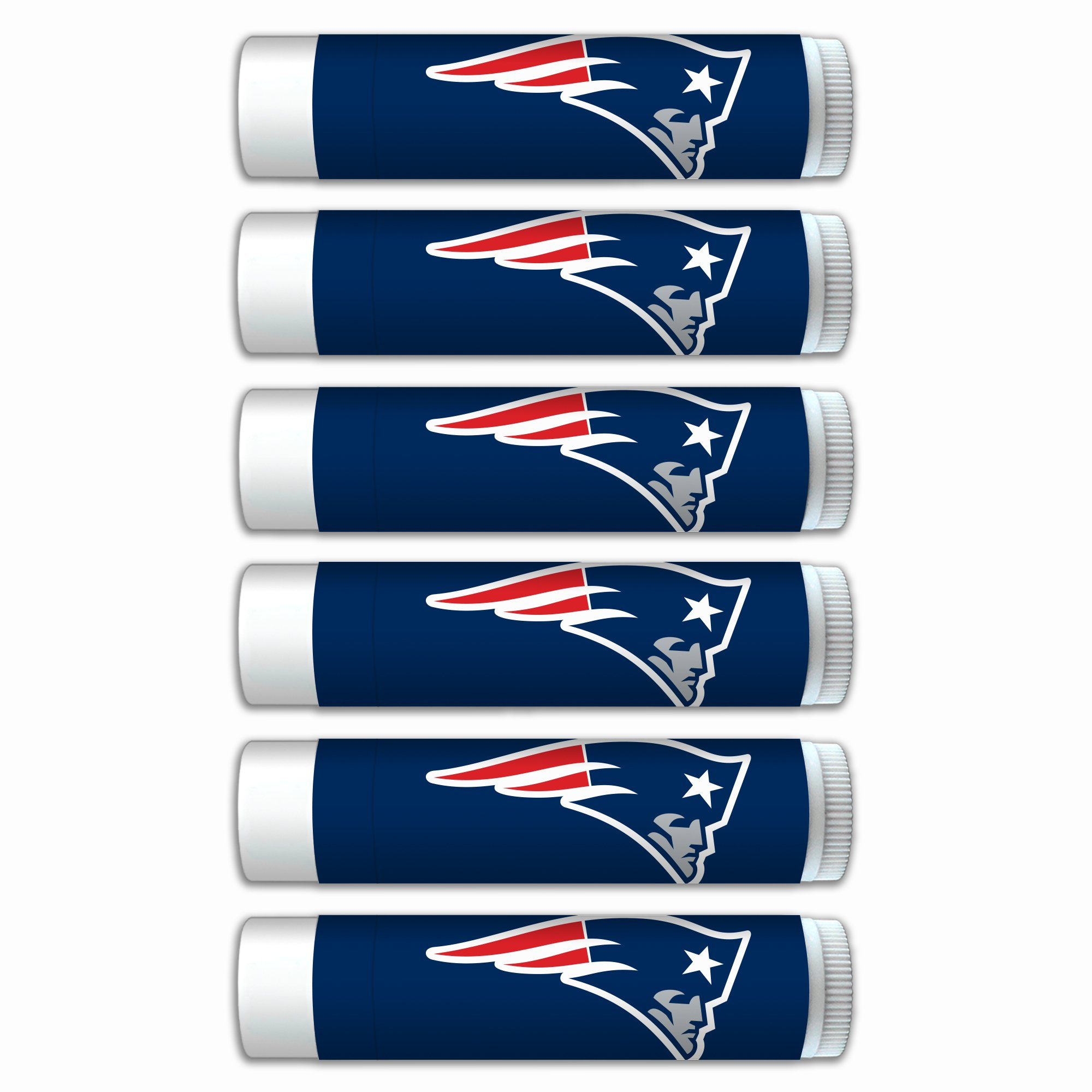 $2.00 OFF New England Patriots Smooth Mint Lip Balm 6-Pack with SPF 15, Beeswax, Coconut Oil, Aloe Vera. NFL Football Gifts for Men and Women, Mother's Day, Fathers Day, Easter, Stocking Stuffers
