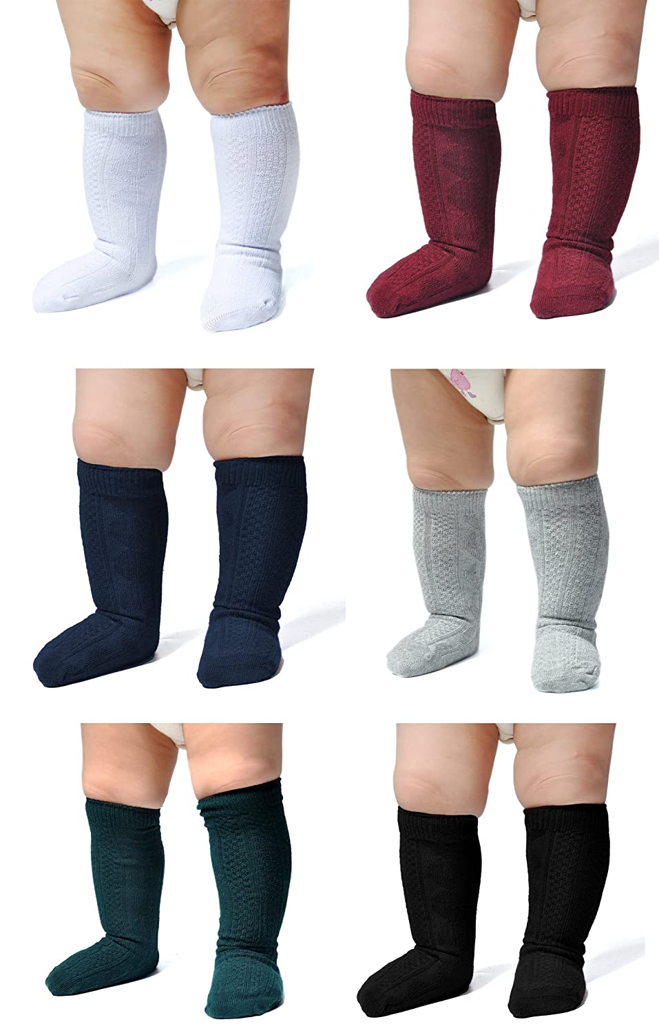 350010475 Amazon.com  Epeius Unisex-Baby Seamless Cable Knit Knee High Socks (Pack of  3 6)  Clothing