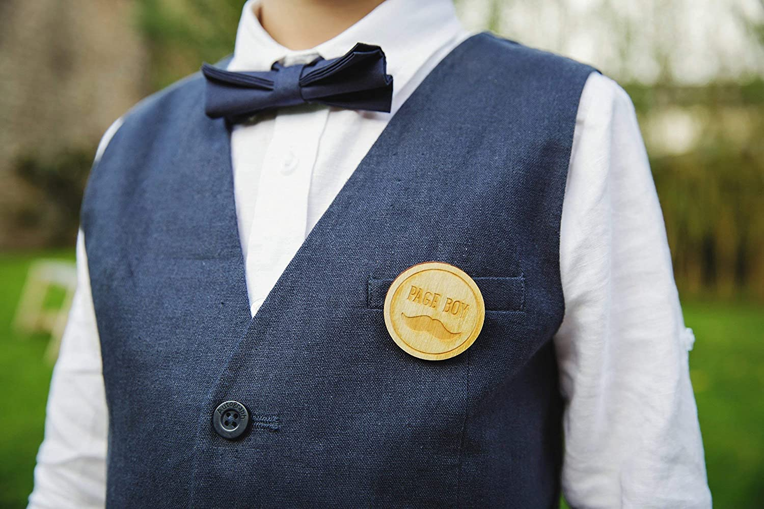 Page Boy Badge - Engraved wedding party badge, page boy gift, buttonhole, boutonniere, pin badge, pageboy, wedding badge