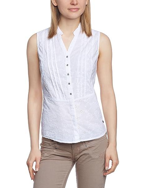 cf821d7be LERROS - Blusa con cuello mao sin mangas para mujer, talla 36, color blanco  100: Amazon.es: Ropa y accesorios