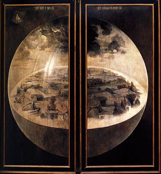 Cutler millas el jardín de las delicias panel cerrado por Hieronymus Bosch pintado a mano óleo sobre lienzo Reproducción pared arte., 18x20: Amazon.es: Hogar