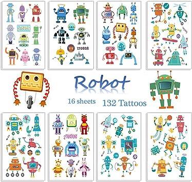 SZSMART Robot Tatuajes Temporales para Niños Robot Tatuajes ...