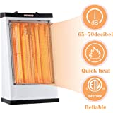 DONYER POWER Electric Radiant Heater, Built-in Fan, Quartz Tube Heater,1500W,White,Living Room Space Heating