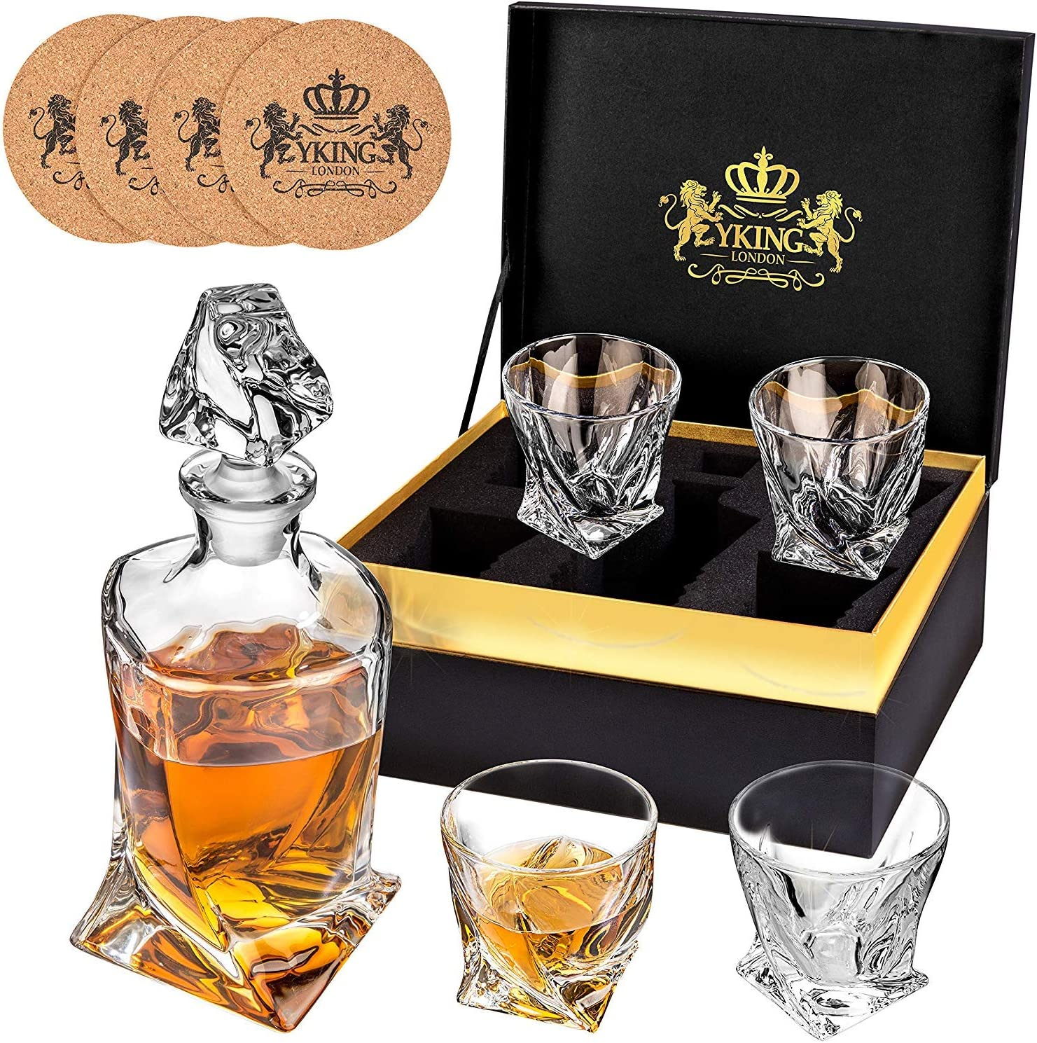 Whiskey Decanter and Glass Set Decanter set Whiskey Bourbon Scotch Tequila Rum Vodka Decanter Set decanter set Decanter Set 9 Piece in Premium Gift Box from YKing London
