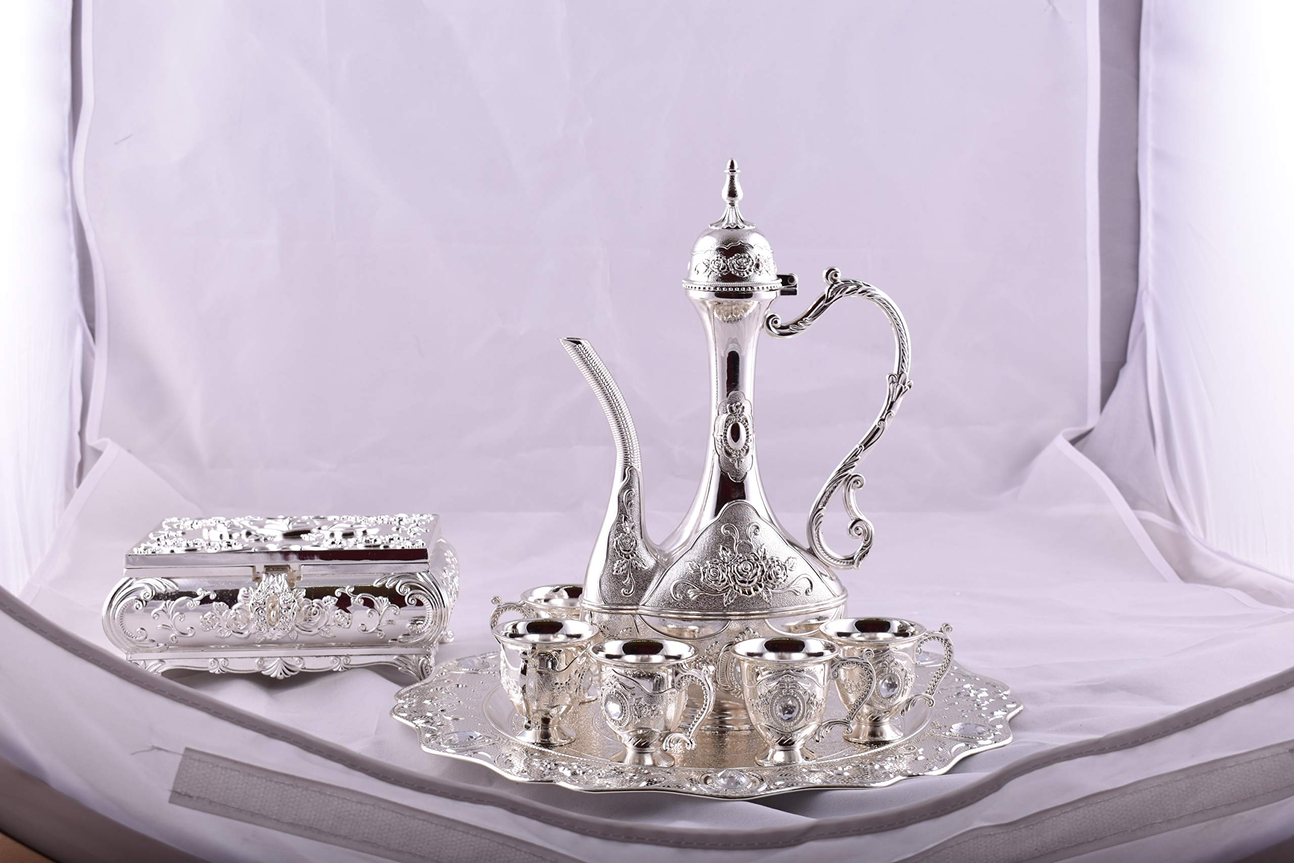 SILVER TURKISH COFFEE POT SET of 9