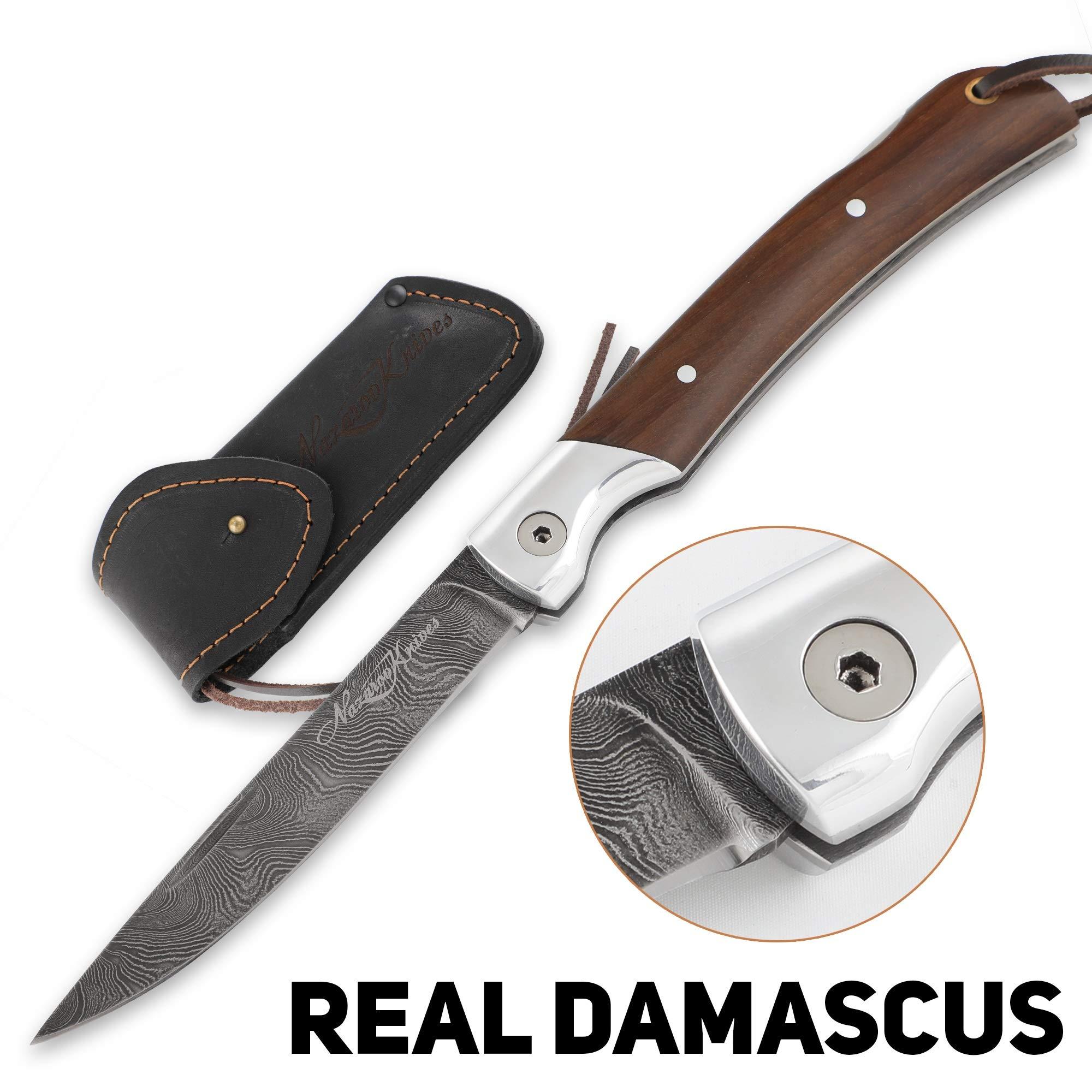 Folding Knife – Pocket Knife Mexican – Real Damascus Steel – Hornbeam Handle – Durable Leather Sheath