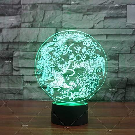 Dragón Y Fénix Auspicioso 3D Lámpara De Escritorio Mesa 7 Cambiar ...