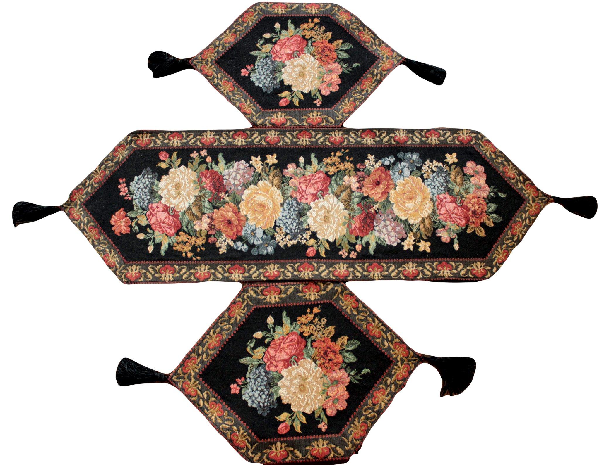 Tache 3 Piece Black Floral Woven Tapestry Midnight Awakenings Table Runner Set