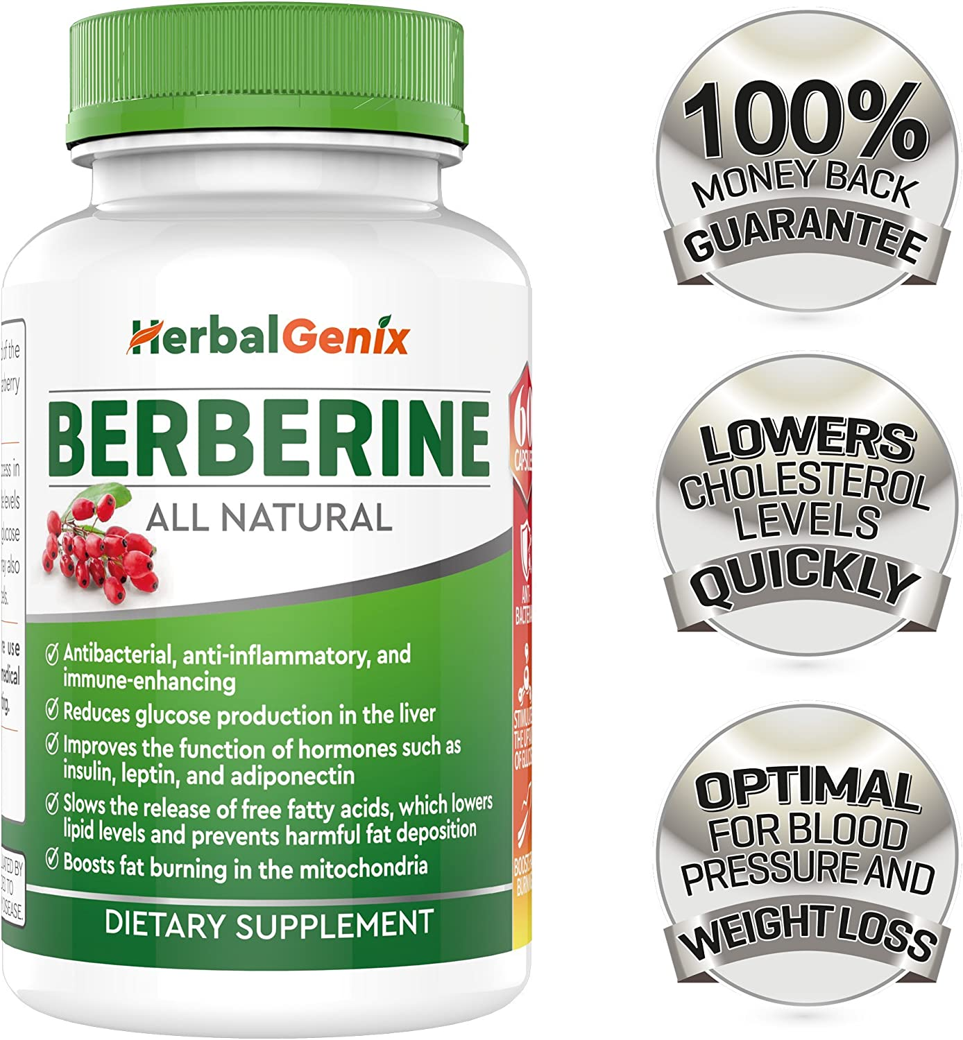 Lower Cholesterol, Triglyceride, Weight & Lower Blood Sugar with HerbalGenix Berberine 500mg HCL Supplement. All Natural Ingredients. Antioxidant, AMPK Supplement. Non-GMO/Gluten Free/Vegan Caps