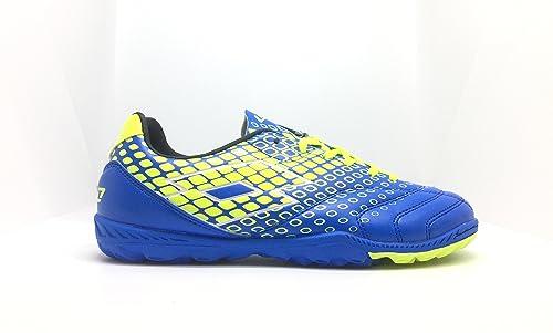 Lotto - Zapatillas de fútbol sala de Piel para niño Azul BLU ATL YLW SAF   Amazon.es  Zapatos y complementos d13f96539ac33