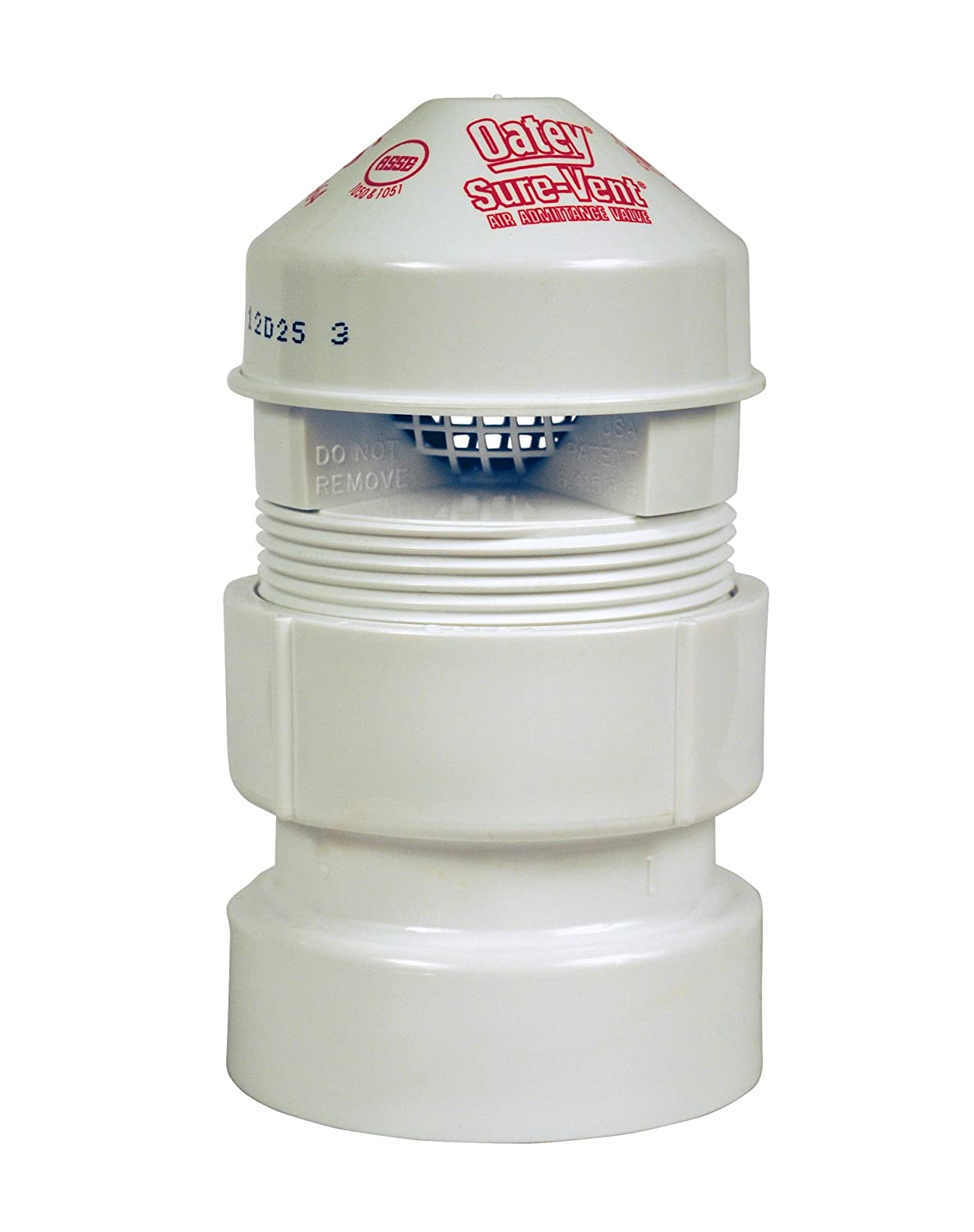 Oatey 39019 1.5 x 2 20 DFU Sure-Vent AAV Allows air to Enter The Plumbing Drainage Negative pressures Develop in The Piping System 1-1//2-Inch Black