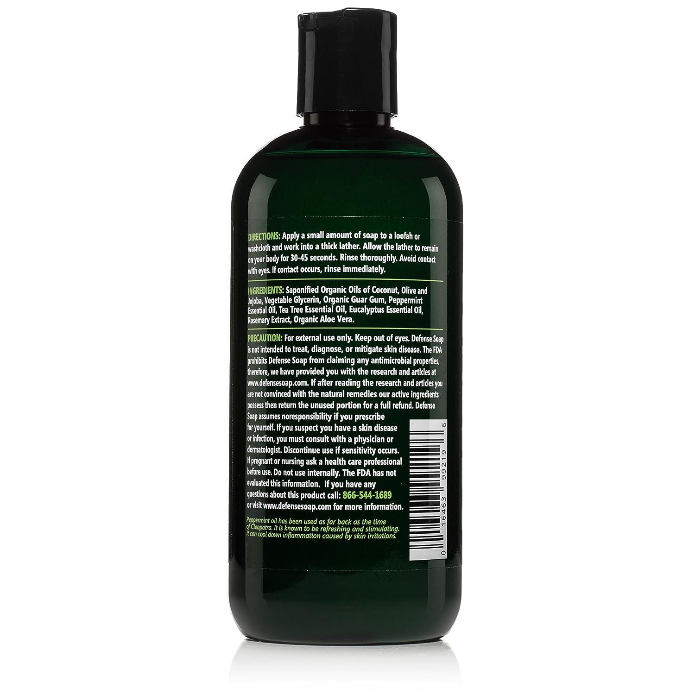 Defense Soap Peppermint Body Wash Shower Gel 12 Oz – Natural Tea Tree Eucalyptus Peppermint Oil Pack of 2