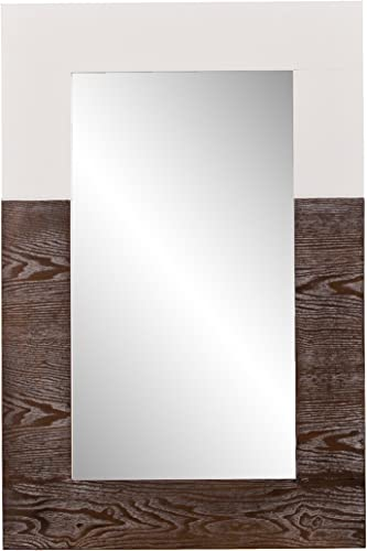 Southern Enterprises Wagars Wood Grain Wall Mirror – Two Tone Burnt Oak White – Clean Modern Hanging Mirror