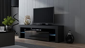 Amazon.com: TV Stand MILANO 160 Black- TV Cabinet with LEDs ...