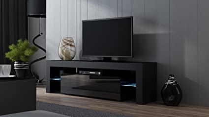 Amazon.com: TV Stand MILANO 160 Black- TV Cabinet with LEDs - Living ...