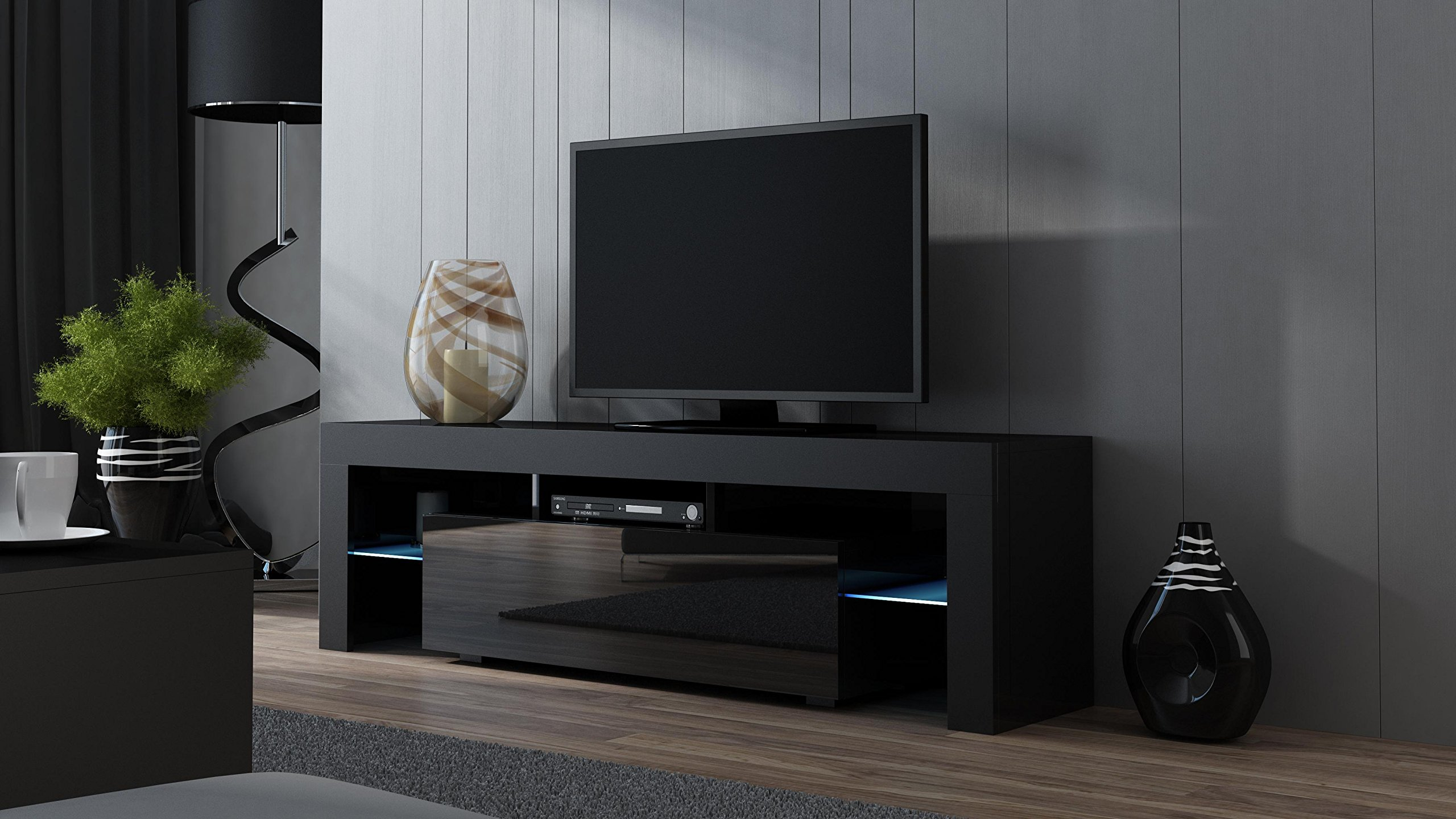 TV Stand MILANO 160 Black- TV Cabinet with LEDs - Living Room Furniture - TV Console for up to 70'' TV screens - TV stand with LED lights (Black & Black)