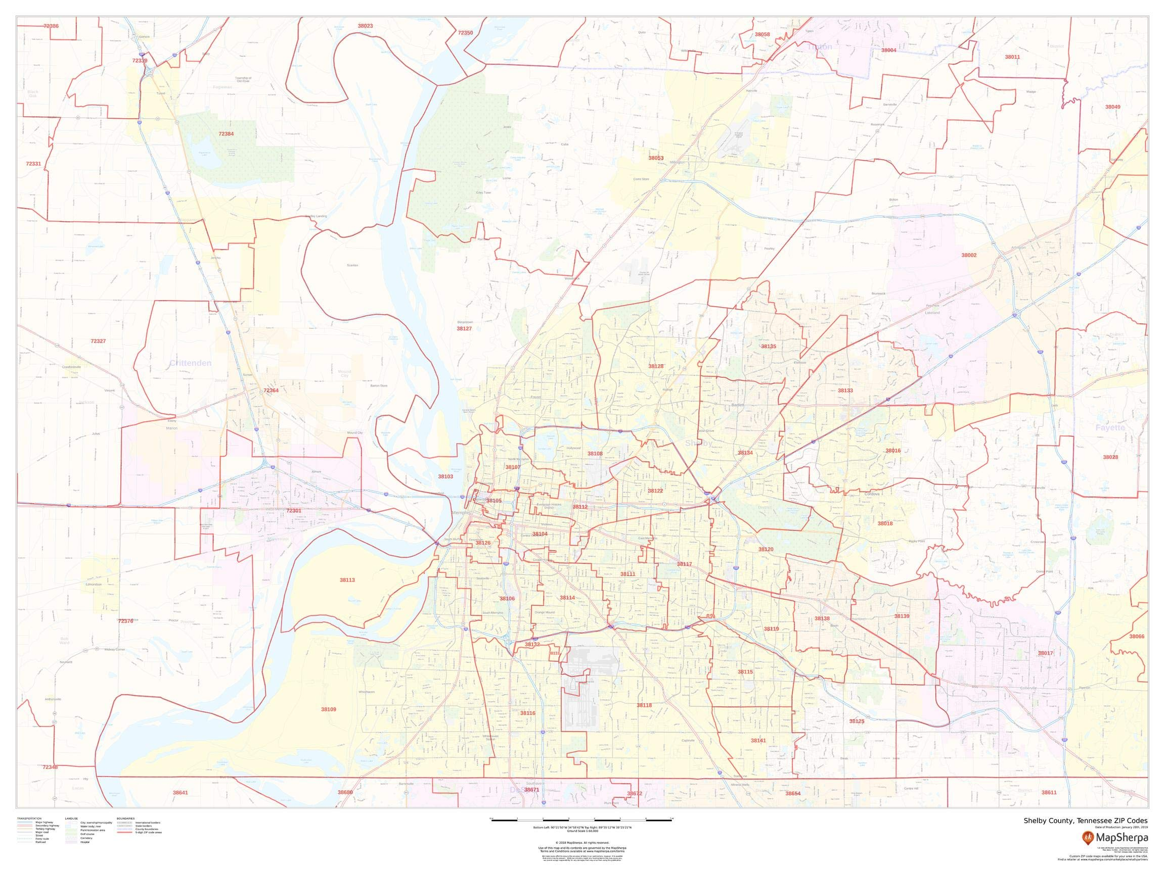 Shelby County, Tennessee Zip Codes - 48'' x 36'' Paper Wall Map