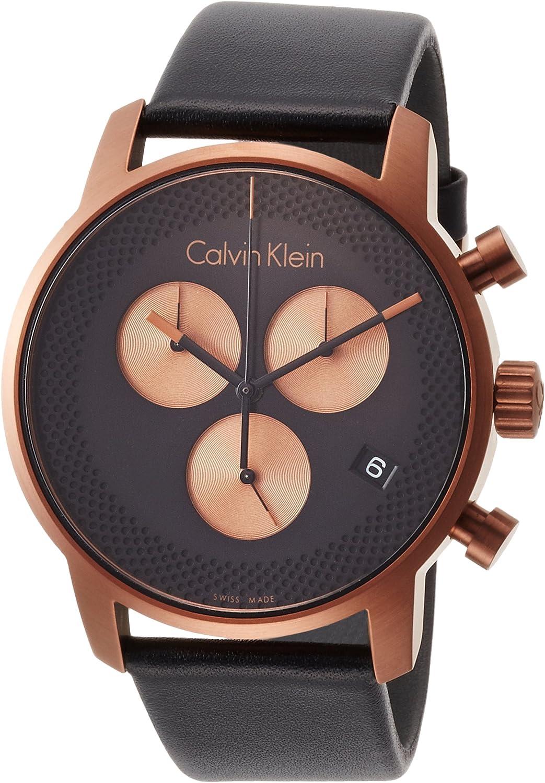 Calvin Klein Reloj Cronógrafo para Hombre de Cuarzo con Correa en Cuero K2G17TC1