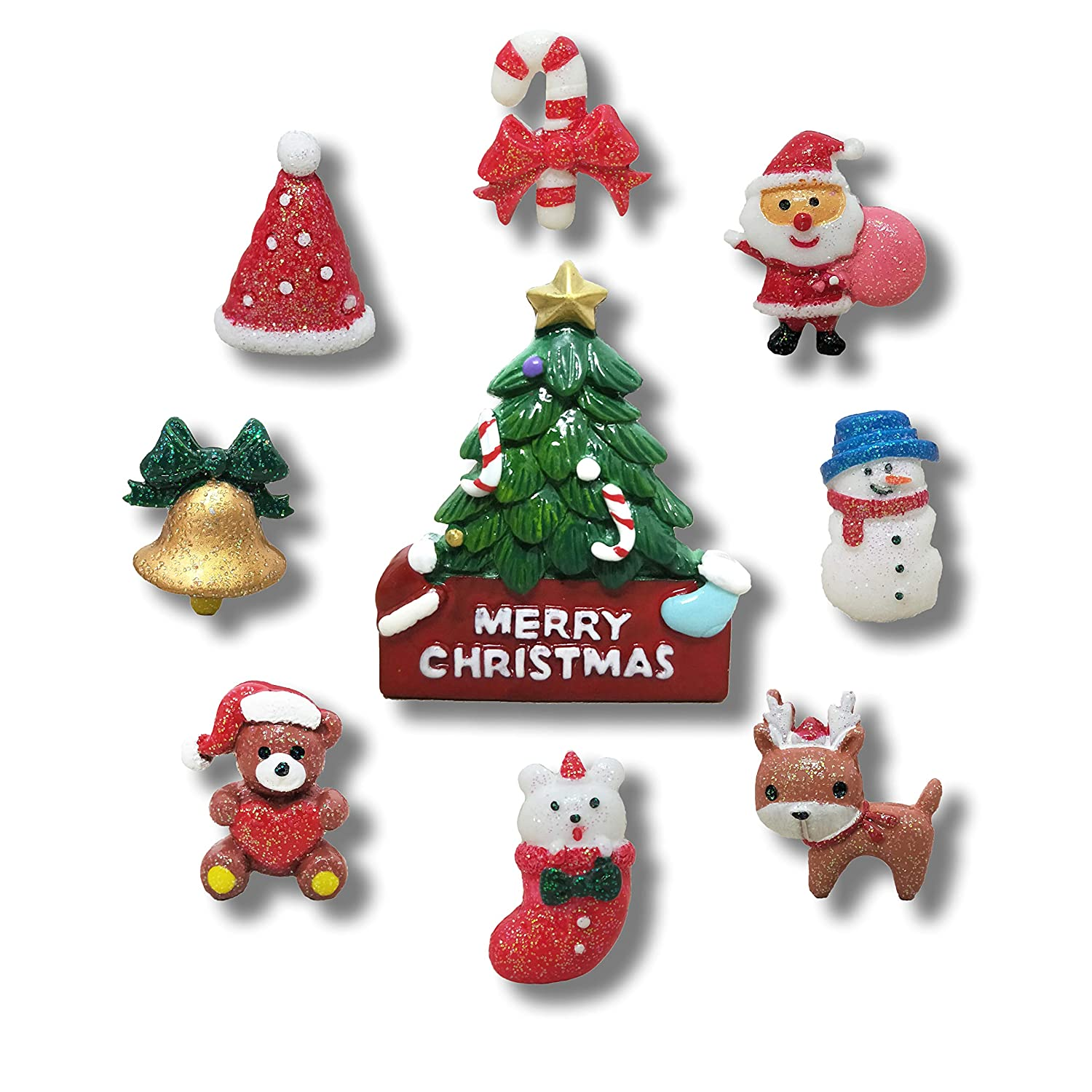 9 Pack Creative Christmas Fridge Magnet Gifts Christmas Day Home Decoration Kids Refrigerator Magnet - Perfect Magnets for Whiteboard, Refrigerator, Map and Calendar