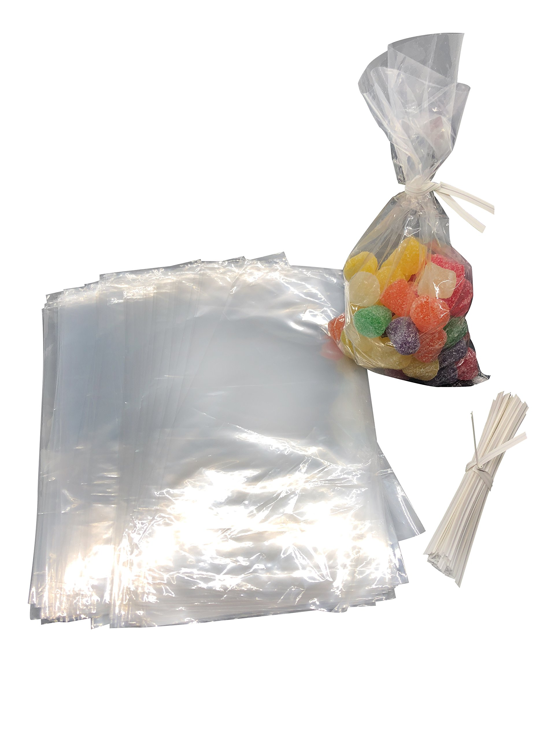 LoHiciste Candy Buffet Supplies: Set of Candy Buffet Scoops and Candy Buffet Bags with Twist Ties (6 Silver Scoops, 50 Clear Bags, Silver) by LoHiciste (Image #3)