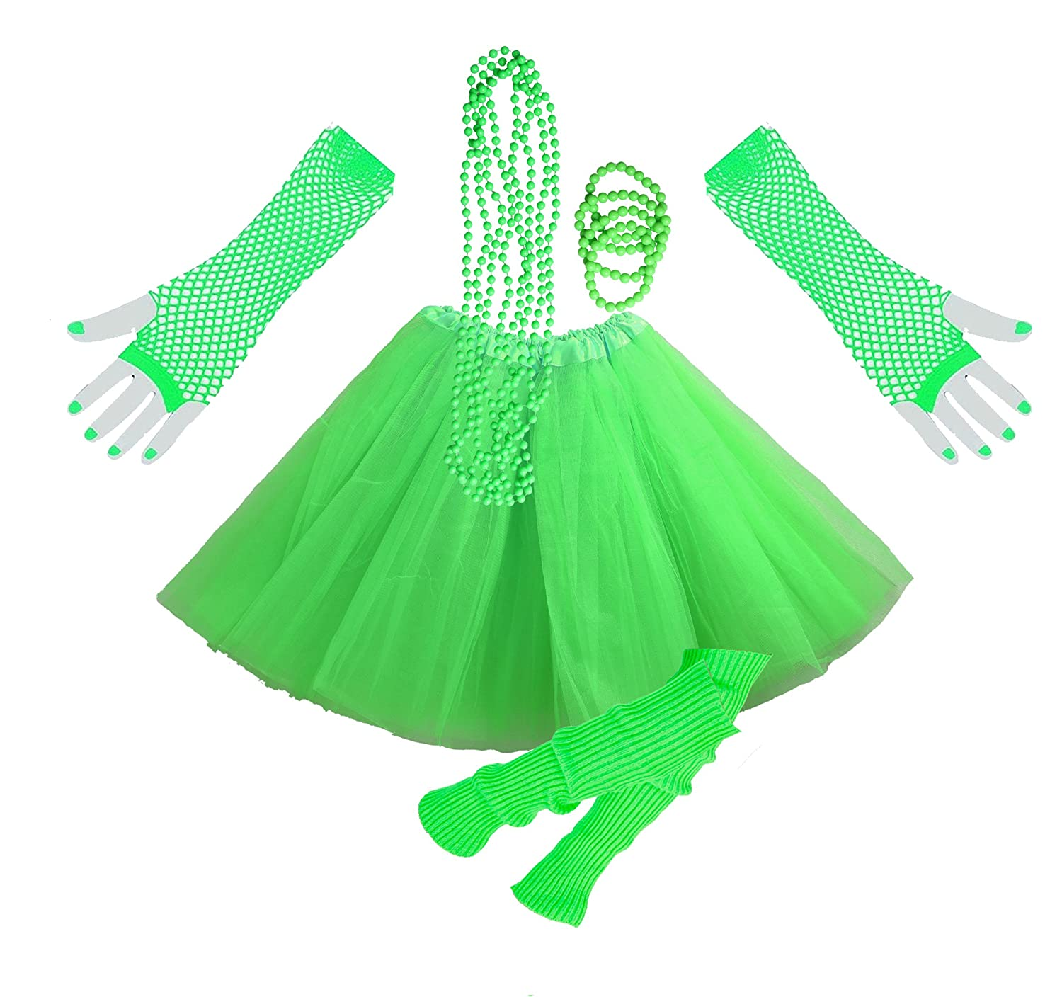 Ladies Neon Green Tutu Skirt with Leg Warmers, Gloves and Colourful Beaded Jewellery.