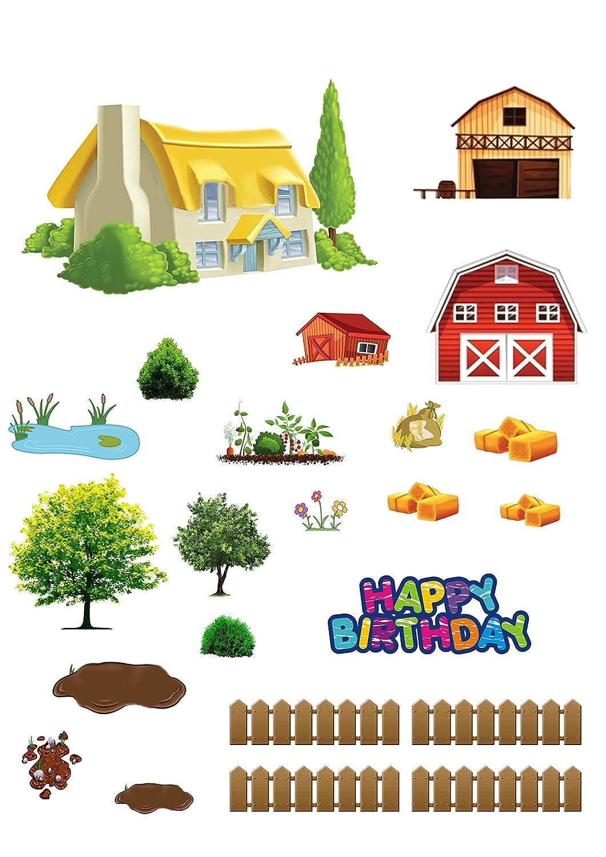 Animales de Granja de Animales de Granja feliz cumplea/ños Stand Up escena hecho de papel comestible perfecto para la decoraci/ón de tu cumplea/ños Cakes f/ácil de usar