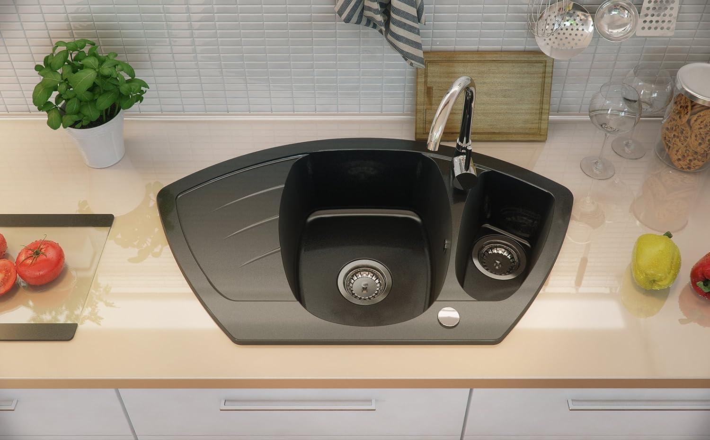 Granitspüle schwarz, 1,5-Becken, mit automatischem Siphon ...
