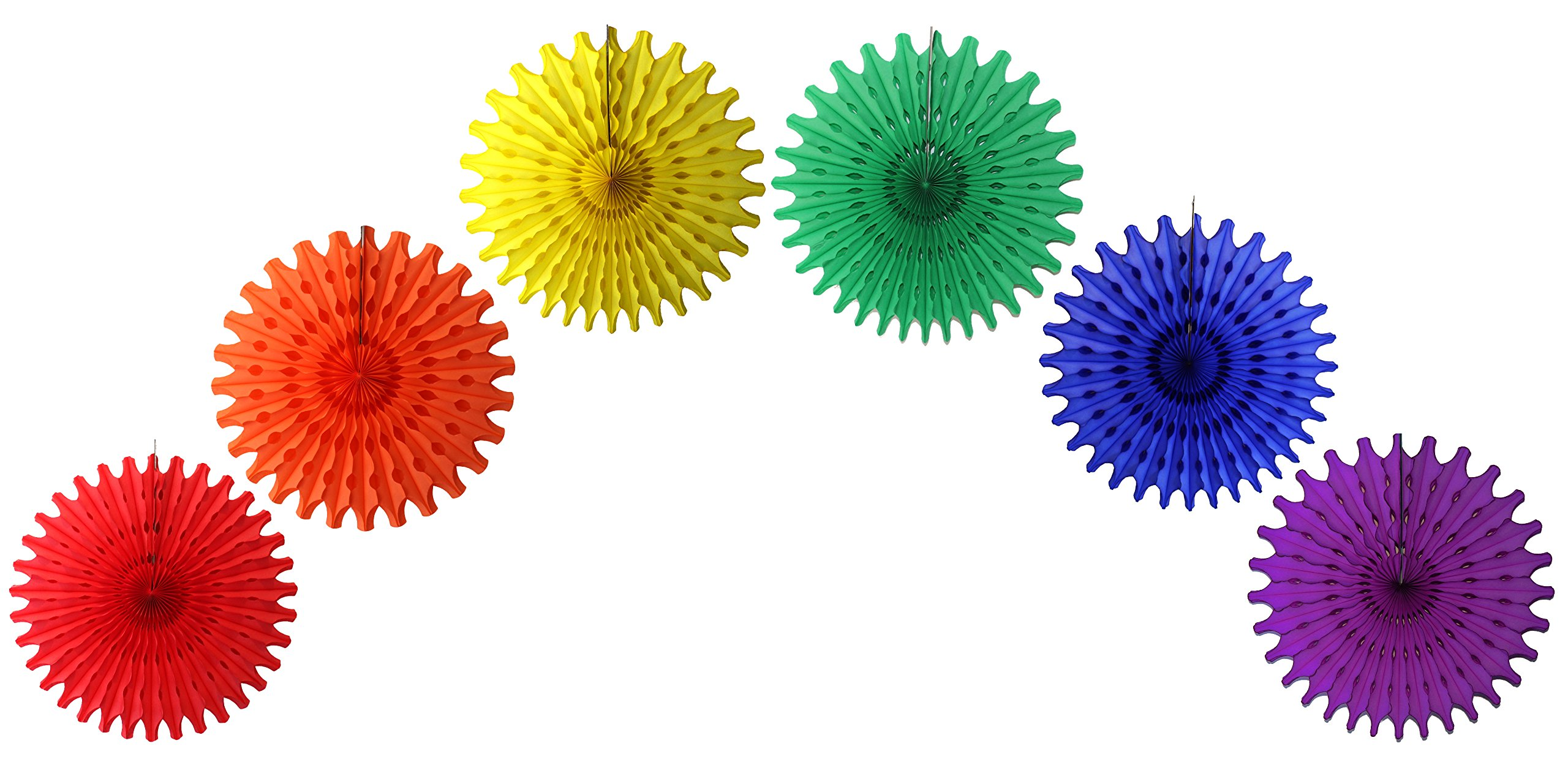 18 Inch Classic Rainbow Party Decorations (Six Fans) by Devra Party