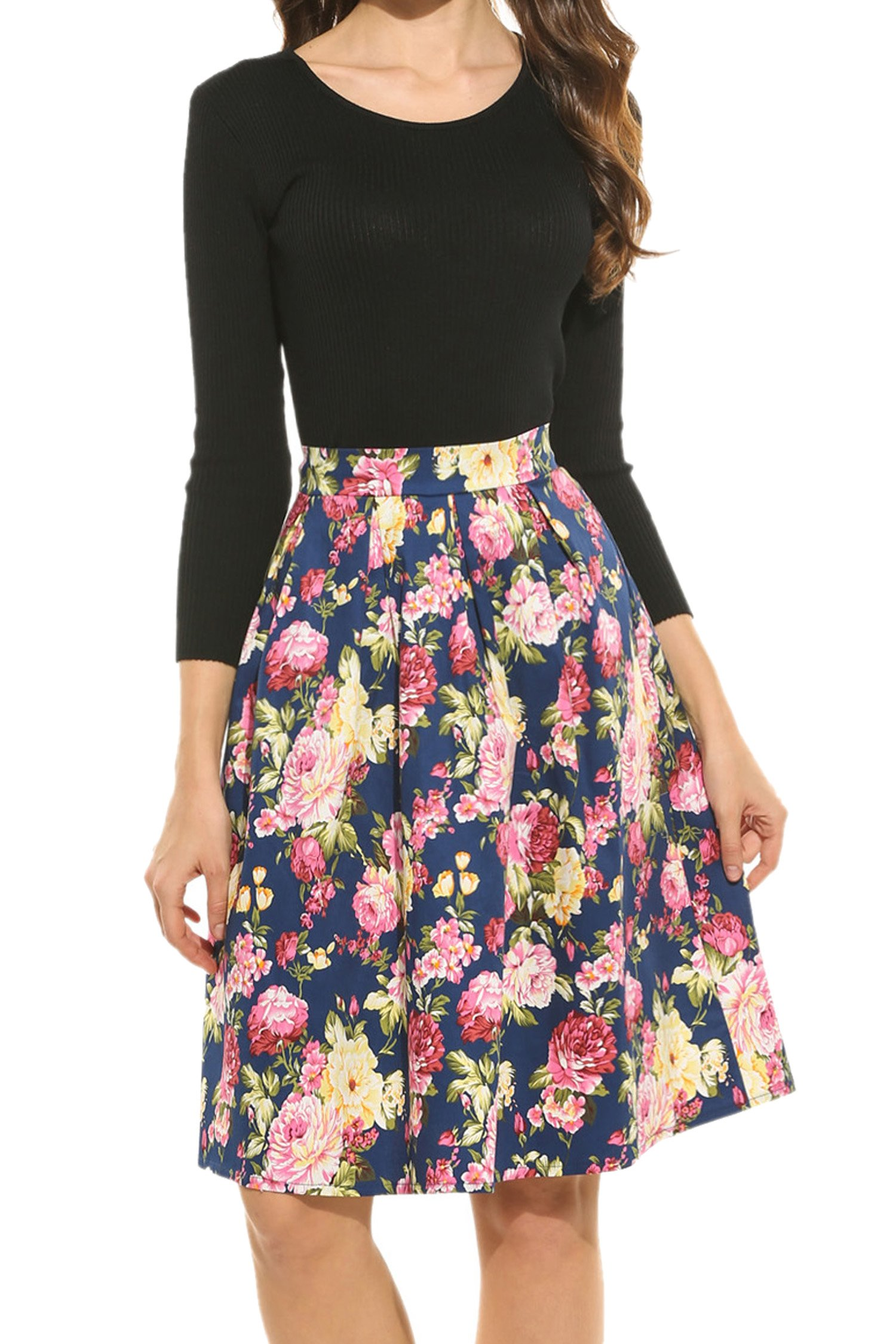 Meaneor Women's High Waisted A line Street Skirt Skater Pleated Full Midi Skirt by Meaneor (Image #3)