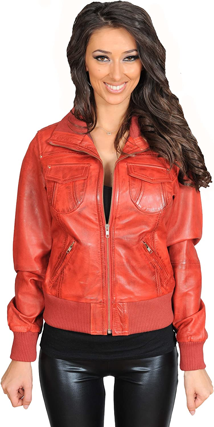 Ladies Leather Bomber Jacket Trendy Fitted Blouson Coat in Tessa