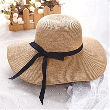95cc6db0 spyman New Summer Women Bow Sun Hat Ladies Wide Brim Straw Hats Outdoor  Foldable Beach Panama