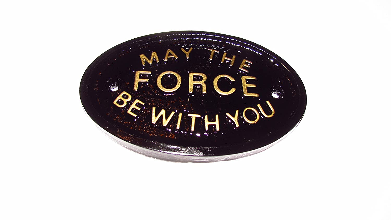 'May The Force Be With You' Haus/Garten Wandschild in schwarz mit gold erhabenen Schriftzug