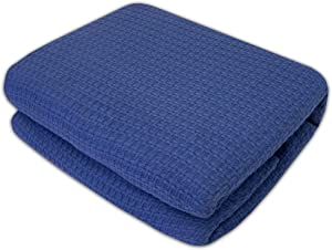 Sweet Home Collection 100% Cotton Blanket All Season Comfort Knit Woven Bedspread Bedding, King, Blue