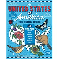 The United States of America Coloring Book: Fifty State Maps with Capitals and Symbols like Motto, Bird, Mammal, Flower, Insect, Butterfly or Fruit
